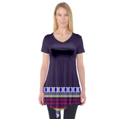 Purple Retro Geometric Pattern Short Sleeve Tunic  by DanaeStudio