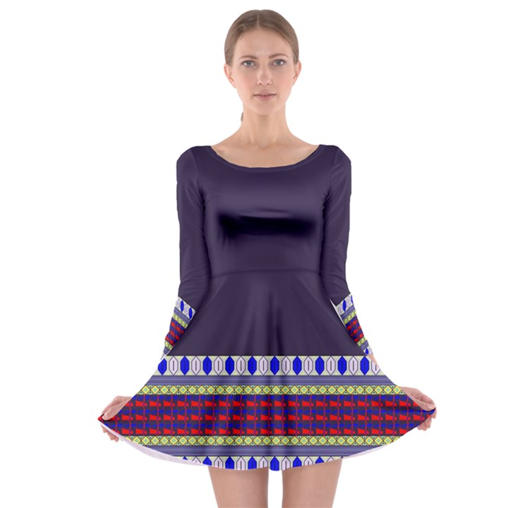 Purple Retro Geometric Pattern Long Sleeve Skater Dress