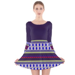 Colorful Retro Geometric Pattern Long Sleeve Velvet Skater Dress by DanaeStudio