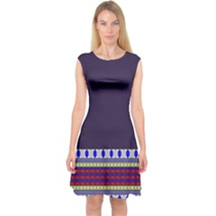 Purple Retro Geometric Pattern Capsleeve Midi Dress by DanaeStudio