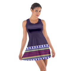 Purple Retro Geometric Pattern Cotton Racerback Dress by DanaeStudio