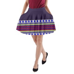 Purple Retro Geometric Pattern A Line Pocket Skirt