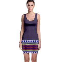 Purple Retro Geometric Pattern Bodycon Dress by DanaeStudio
