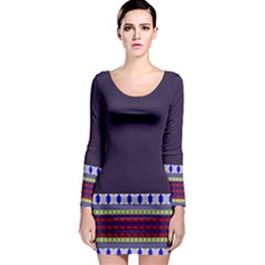 Purple Retro Geometric Pattern Long Sleeve Bodycon Dress by DanaeStudio