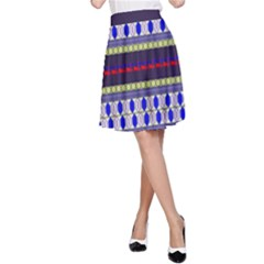 Colorful Retro Geometric Pattern A-line Skirt by DanaeStudio