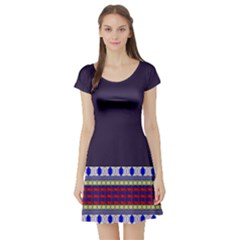 Purple Retro Geometric Pattern Short Sleeve Skater Dress
