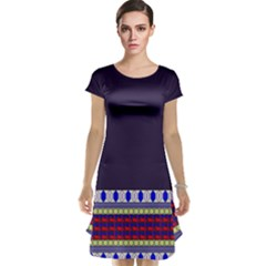 Purple Retro Geometric Pattern Cap Sleeve Nightdress by DanaeStudio
