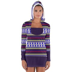 Colorful Retro Geometric Pattern Women s Long Sleeve Hooded T Shirt