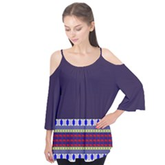 Purple Retro Geometric Pattern Flutter Sleeve Tee  by DanaeStudio