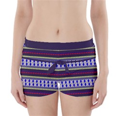 Colorful Retro Geometric Pattern Boyleg Bikini Wrap Bottoms