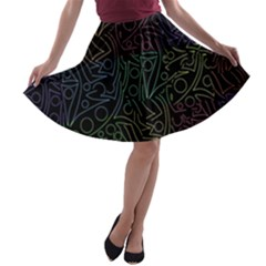 Colorful Pattern A Line Skater Skirt by Valentinaart