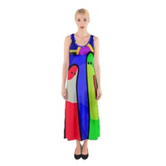 Colorful Snakes Sleeveless Maxi Dress by Valentinaart