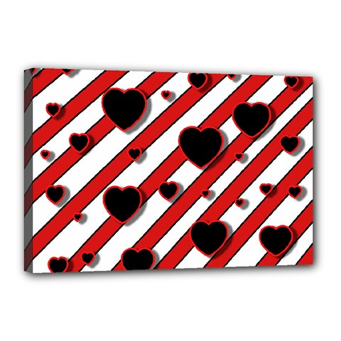 Black And Red Harts Canvas 18  X 12  by Valentinaart