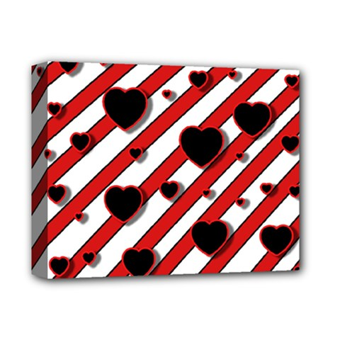 Black And Red Harts Deluxe Canvas 14  X 11  by Valentinaart