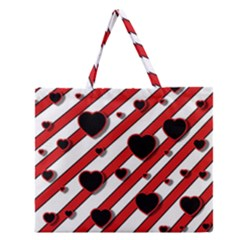 Black And Red Harts Zipper Large Tote Bag