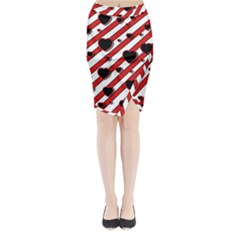 Black And Red Harts Midi Wrap Pencil Skirt by Valentinaart