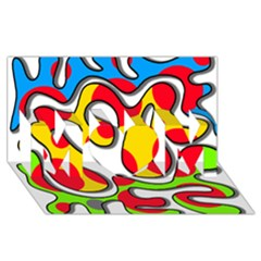 Colorful Graffiti Mom 3d Greeting Card (8x4) by Valentinaart