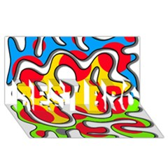 Colorful Graffiti Best Bro 3d Greeting Card (8x4) by Valentinaart
