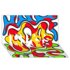 Colorful Graffiti Hugs 3d Greeting Card (8x4) by Valentinaart