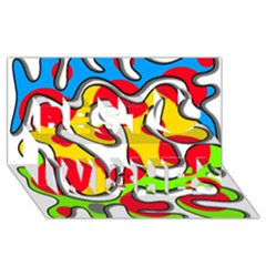 Colorful Graffiti Best Wish 3d Greeting Card (8x4)