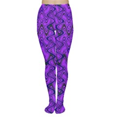 Purple Wavey Squiggles Women s Tights by BrightVibesDesign