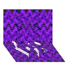 Purple Wavey Squiggles Love Bottom 3d Greeting Card (7x5)