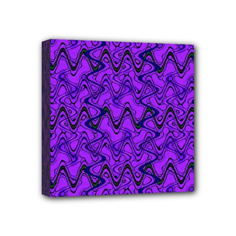 Purple Wavey Squiggles Mini Canvas 4  X 4  by BrightVibesDesign
