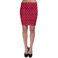 Red Wavey Squiggles Bodycon Skirt by BrightVibesDesign