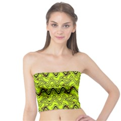 Yellow Wavey Squiggles Tube Top by BrightVibesDesign