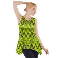 Yellow Wavey Squiggles Side Drop Tank Tunic