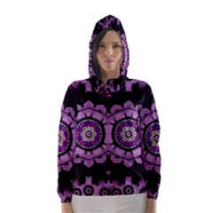 Decorative Leaf On Paper Mandala Hooded Wind Breaker (women) by pepitasart