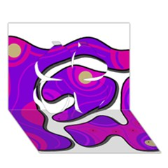 Purple Graffiti Clover 3d Greeting Card (7x5) by Valentinaart