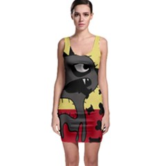 Angry Little Dog Sleeveless Bodycon Dress by Valentinaart
