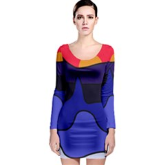 Waves Long Sleeve Bodycon Dress by Valentinaart