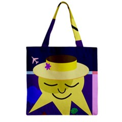 Mr  Sun Zipper Grocery Tote Bag by Valentinaart