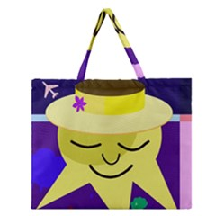 Mr  Sun Zipper Large Tote Bag by Valentinaart
