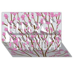 Cherry Tree Happy Birthday 3d Greeting Card (8x4) by Valentinaart