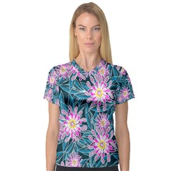 Whimsical Garden Women s V Neck Sport Mesh Tee