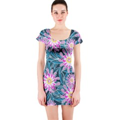 Whimsical Garden Short Sleeve Bodycon Dress