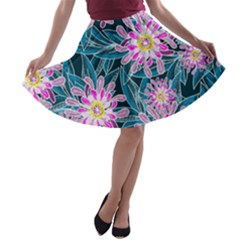 Whimsical Garden A Line Skater Skirt by DanaeStudio