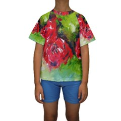 Floral  Red On Green Kid s Short Sleeve Swimwear by artistpixi