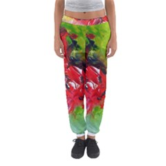 Floral  Red On Green Women s Jogger Sweatpants by artistpixi