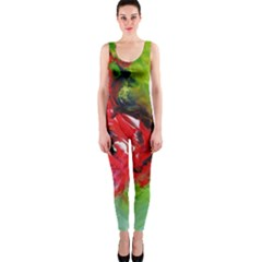 Floral  Red On Green Onepiece Catsuit by artistpixi
