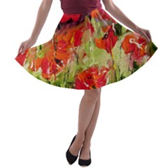 Abstract Poppys  A-line Skater Skirt