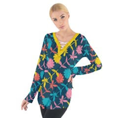 Colorful Floral Pattern Women s Tie Up Tee by DanaeStudio