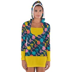 Colorful Floral Pattern Women s Long Sleeve Hooded T Shirt