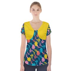 Colorful Floral Pattern Short Sleeve Front Detail Top by DanaeStudio