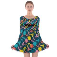 Colorful Floral Pattern Long Sleeve Skater Dress by DanaeStudio
