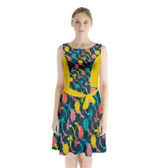 Colorful Floral Pattern Sleeveless Chiffon Waist Tie Dress by DanaeStudio