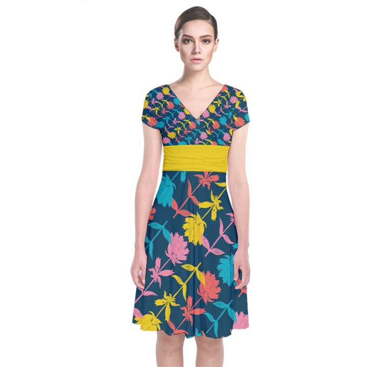 Colorful Floral Pattern Short Sleeve Front Wrap Dress